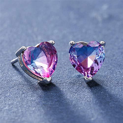 Female Cute Heart Stud Earrings For Women Red Green Crystal Zircon Vintage Fashion Rainbow Stone Earrings