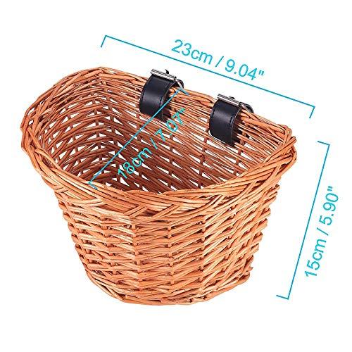 ONEVER Handlebar Bike Basket,Wicker Front Handlebar Bike Basket, Kids Bicycle Accessory