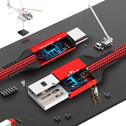 USB Typ C Kabel 5A, AKOADA [3 Stück 0.5M+1M+2M] Schnell Ladekabel für Huawei P30 P20 pro P20 Mate 30 20 10 pro Honor 10 V10 P10 Plus Mate 30 pro usw(Rot) - 5