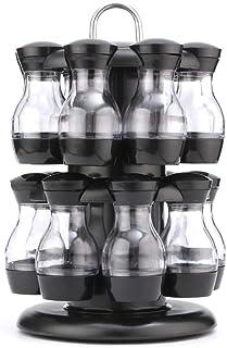 HCYSNG Rotation Cruet Condiming Assaisonnier Pors Set Spices Poivre Sel Shakers Porte-Cuisine Article de Rangement de Cuis...