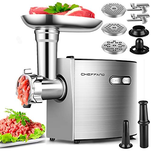 Electric Meat Grinder, CHEFFANO Stainless Steel Meat Mincer Sausage Stuffer, 2000W Max ETL Approved Meat Grinder Machine with 3 Grinding Plates, 2 Blades, Sausage Kubbe Kit Sets, Home Kitchen Use