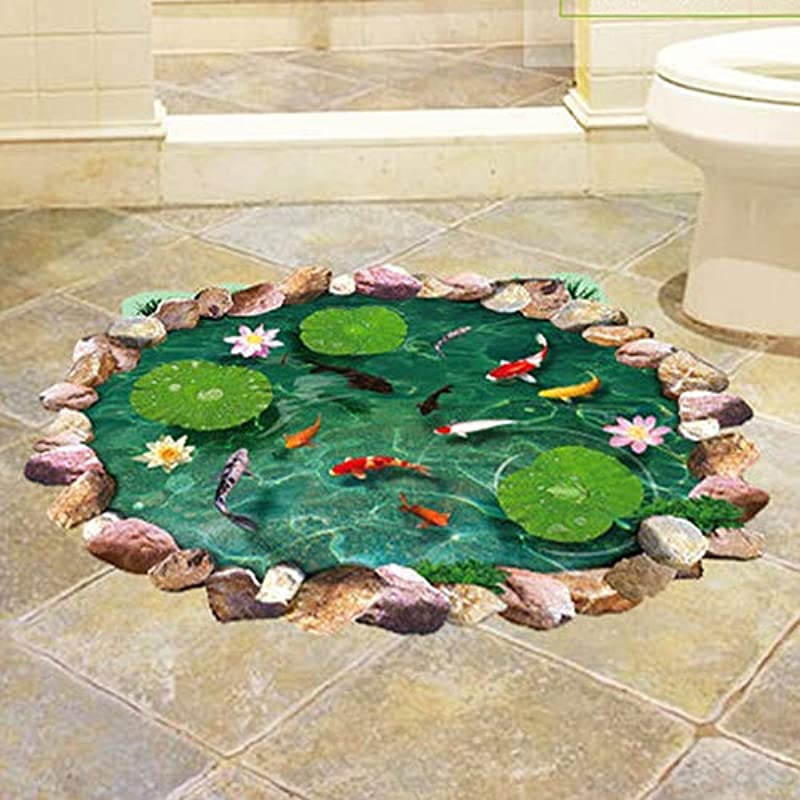 CHicoco Waterproof Lotus Fish Print 3D Floor Decal Ground Removable Stickers Home Decor Home D Cor Accents For Living Room Flower Wall Decals Home Improvement Paint Wall Murals Decor Mural Paper