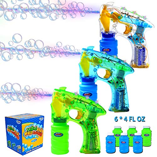 JOYIN 3 Bubble Guns Kit for Bubble Blaster Party Favors, LED Bubble Machine Blaster Party Supplies, Summer Toy, Outdoors Activity, Birthday Gift, Bubble Blower Toy, Easter