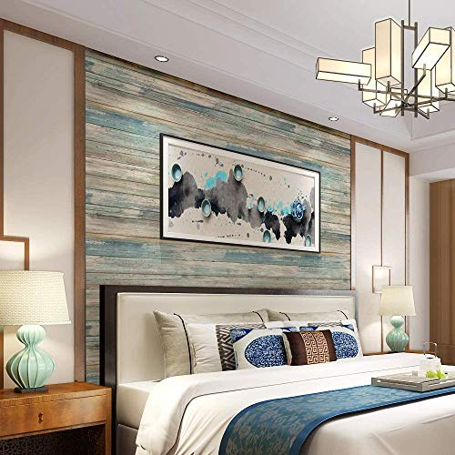 Blue Distressed Wood Peel and Stick Wallpaper 17.71