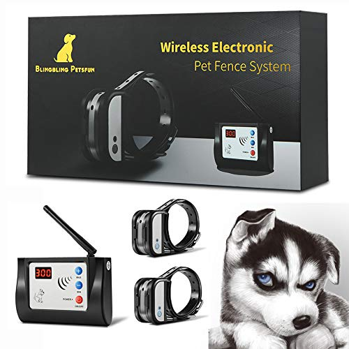 Blingbling Petsfun Electric Wireless Dog Fence System, Pet Containment System with Waterproof and Rechargeable Training Collar Receiver for 2 Dogs Pets Container Boundary (Black)