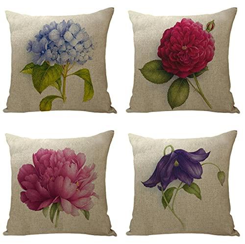 KaiXINSun Throw Pillow Cases Paquete de 4 Funda de Almohada de 18X18 Pulgadas Funda Decorativa para Sofá de Casa Cuadrada Cremallera Invisible 45X45Cm Flores Simples de Color Rojo Púrpura