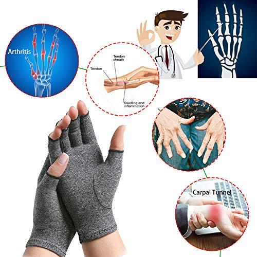 Arthritis Gloves, New Material, Compression Gloves for Arthritis Rheumatoid Osteoarthritis and Carpal Tunnel Pain Relief, Arthritis Fingerless Gloves for Women & Men (1 Pair, Middle Size)