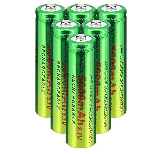 2/4/6/8/10 Stück 18650 Bateria,3.7v/ 5000mah Akku, wiederaufladbare Batterien 1,800 Zyklen, für Icr18650 Lithiumbatterien Li-Ion Bateria, für Power Bank Scheinwerfer,Taschenlampen (6 Stück)