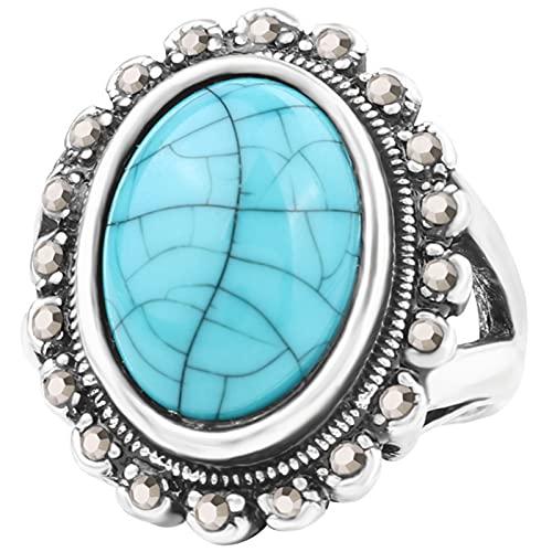 Ezzyso Anillo de Piedras Preciosas de Color Turquesa Grande, joyería de Anillo de Moda de Moda Retro Americana con Diamantes Grises (2 Piezas),Blanco,10