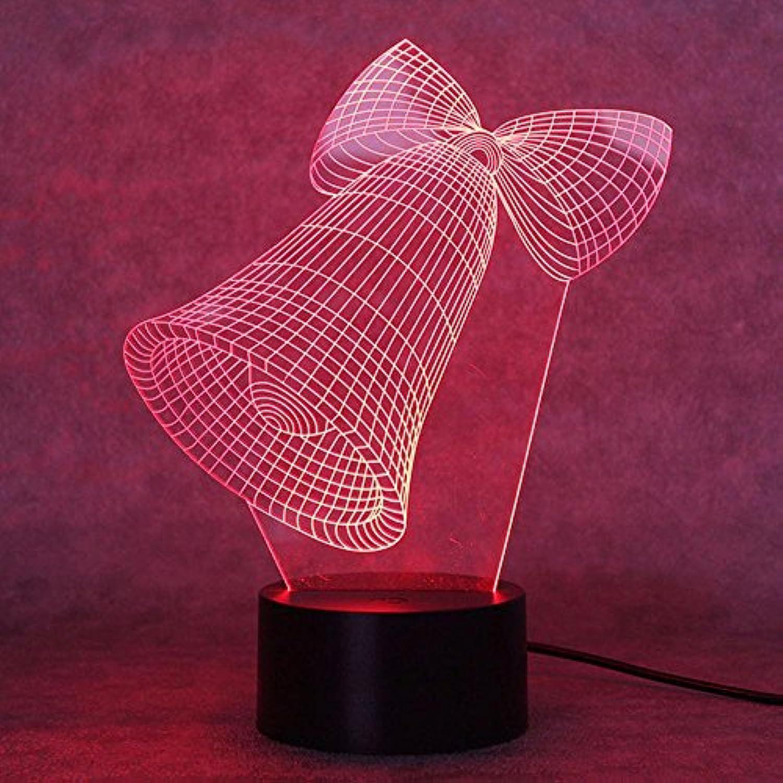 Tcaijing Nachtlicht LED Nachtlicht,Weihnachtsglocke 3D bunte Taste LED visuelle Licht Innenbeleuchtung dekorative Tischlampe