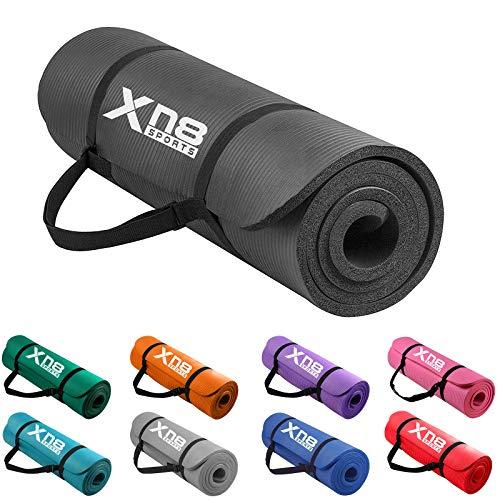 Esterilla gruesa de 15 mm y acolchada de Xn8 Sports con tiras para yoga, aerobic, pilates o gimnasio (Negro)