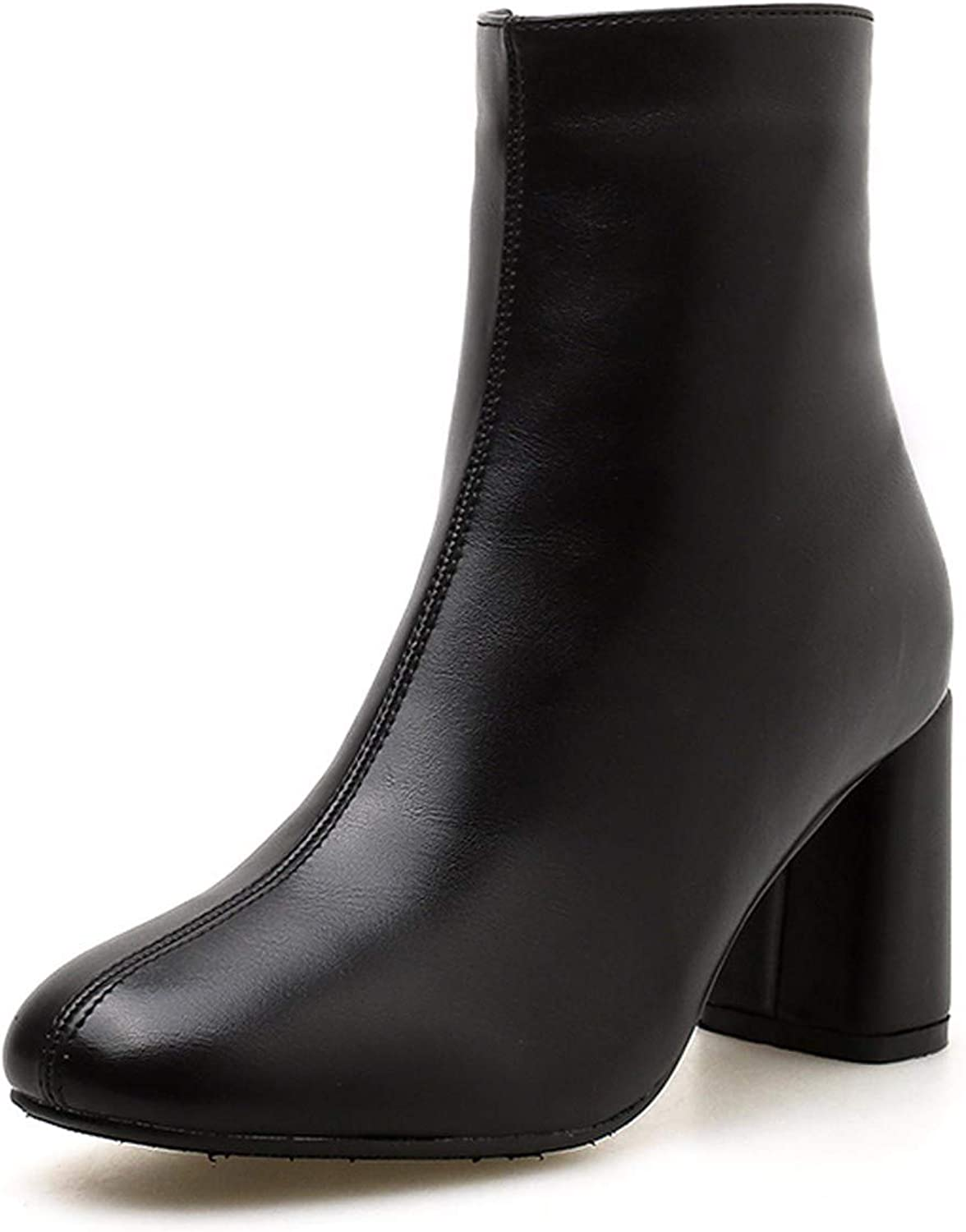 SFSYDDY Popular shoes Short Boots with High 7Cm Thick Heel Martin Boots Velvet Wild Boots Chelsea Boots.