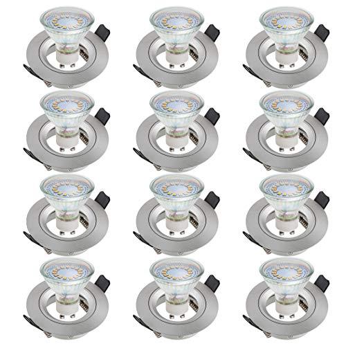 SEBSON Einbaustrahler rund Alu gebürstet 12er Pack inkl. GU10 LED Lampe 3,5W - Unterputz Decken Einbau Rahmen Lochdurchmesser 65mm