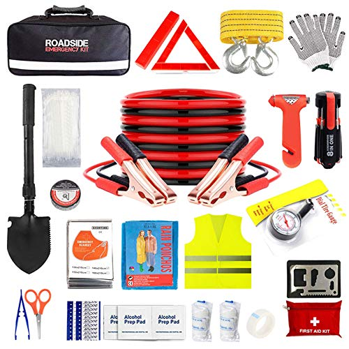 Car Emergency Kit for Auto,Roadside Assistance Bag with Jumper Cable for Truck Vehicle,Men Women Winter First Aid Kit Emergency Safety Tool Case with Flashlight Shovel Blanket for Jeep SUV RV Ford