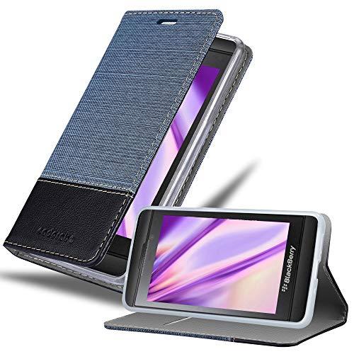 Cadorabo Custodia Libro per Blackberry Z10 in Azzurro Scuro Nero - con Vani di Carte, Funzione Stand e Chiusura Magnetica - Portafoglio Cover Case Wallet Book Etui Protezione