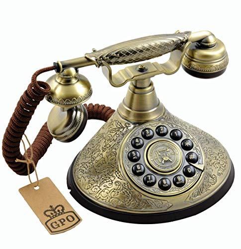 GPO Duchess Nostalgic Vintage Push-Button Telephone with Cloth Cord - Bronze Metal Finish