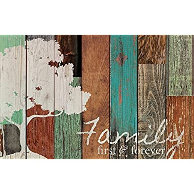 Family First & Forever Multicolor Tree Rustic 16 x 24 Wood Pallet Design Wall Art Sign