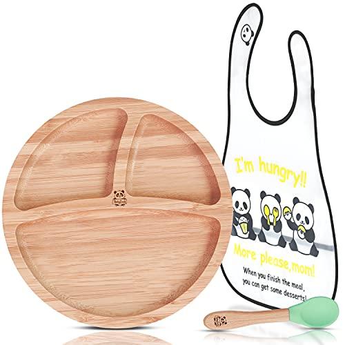 BABYLOVIT Naturbelasener Kinderteller | Baby Teller rutschfest | TÜV Geprüft & Zetifiziert | Kinder-Geschirr-Set mit Saugnapf, Löffel & Lätzchen