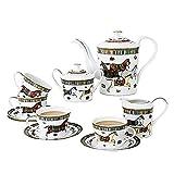 CJLIZI Juego de té (11pcs), Juego de té de té de té de la Tarde Inglesa, Conjunto de café de Marco de Metal, Usado para Regalos/Boda/hogar y Oficina