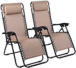Naomi Home Zero Gravity Chairs, Lounge Patio Outdoor Recliner Chairs Cream/Set of 2