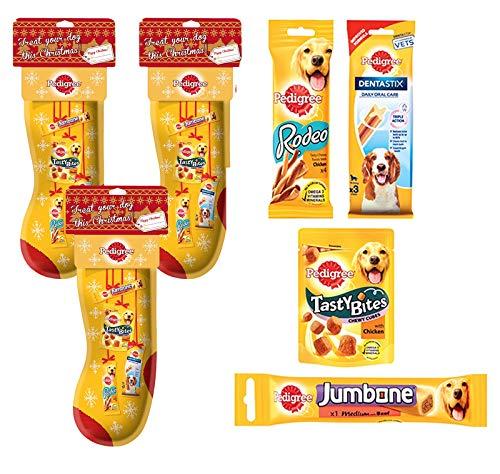 PEDIGREE® Weihnachtsstrumpf mit Leckereien und EIN Spielzeug x 3 Für Mehrzweckhaushalte