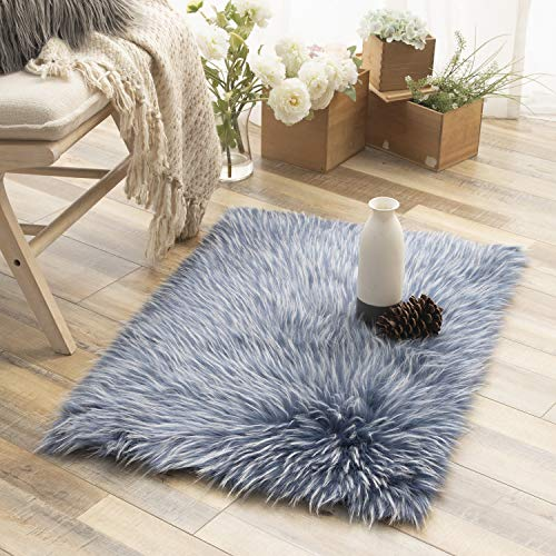 Ashler Faux Fur Rug Soft Faux Peacock Fluffy Rugs Luxurious Carpet Rugs Area Rug for Bedroom, Living Room Carpet Blue-Rectangle 2 x 3 Feet