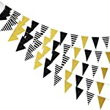 3 Pieces Gold Black Triangle Banner Bunting Triangle Flags Gold Black Pennant Banner Bunting Signs Decoration for Wedding, New Year, Birthday, Graduation, Baby Shower Party