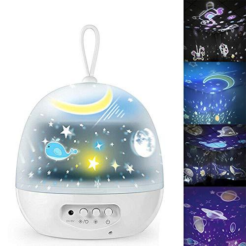 QXL-CAR COVER Portátil Proyector Estrella Lampara Luz de Noche Decorativa Película con Película de proyección 4 HD,por para Niños Bebés Cumpleaños Día los Reyes Navidad Halloween Fiesta