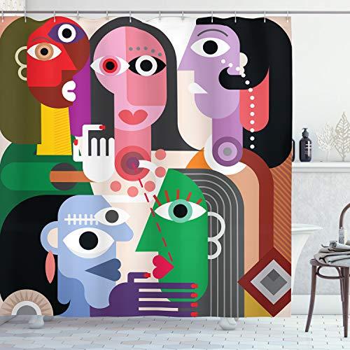 ABAKUHAUS Kunst Duschvorhang, Moderne Abstrakte Bunte Design, Wasser Blickdicht inkl.12 Ringe Langhaltig Bakterie & Schimmel Resistent, 175 x 180 cm, Lila Grün
