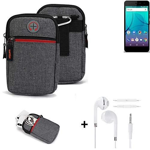 K-S-Trade® Gürtel-Tasche + Kopfhörer Für Allview P7 Lite Handy-Tasche Holster Schutz-hülle Grau Zusatzfächer 1x