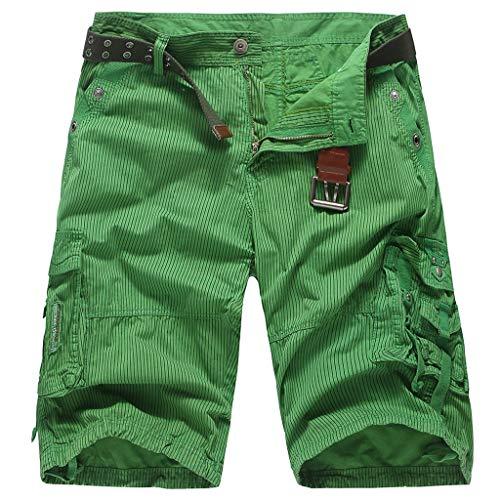 Cargo Bermuda Shorts Herren GreatestPAK Streifen Tasche Hose Casual Outdoor Strand Arbeits Kurze Hosen,Grün,EU:XS(Tag:M)