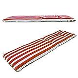 1 cojín colchón para Tumbona o Mueble para Jardín, Playa… + Bolsa AL VACÍO Reutilizable (Medidas 180 x 50 x 6 cm). Diseño Rayas Rojas Y Blancas. Cama.