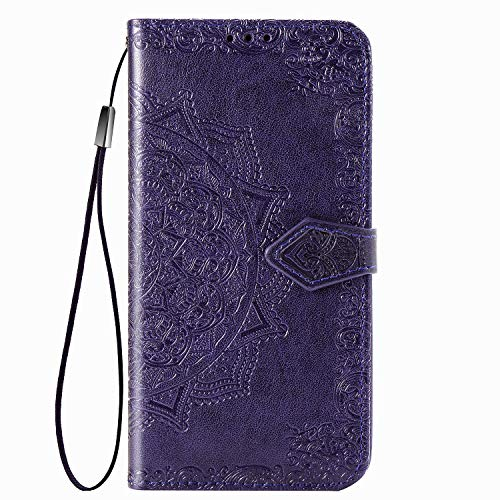 UILY Funda Compatible para Xiaomi Redmi 10, Moda Carcasa Billetera Cuero PU Ultrafina, Cáscara con Impreso Patrón Mandala Anti-Caída Soporte. Púrpura