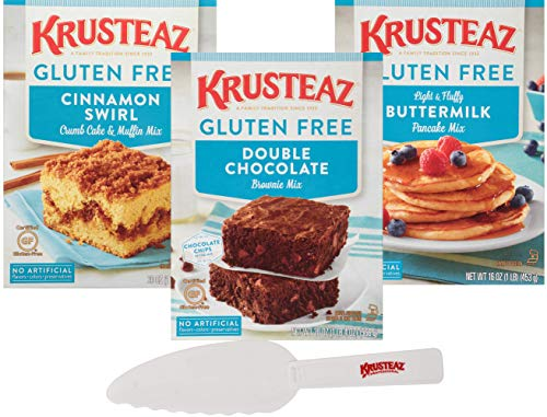 Krusteaz Gluten Free Mix Variety, Double Chocolate Brownie Mix, Cinnamon Crumb Cake & Muffin Mix, and Buttermilk Pancake Mix with Krusteaz Pastry Knife