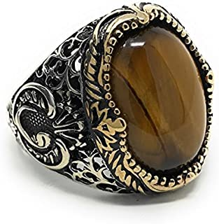 KAR 925K Stamped Sterling Silver Men Natural Tiger Eye Ring I1B
