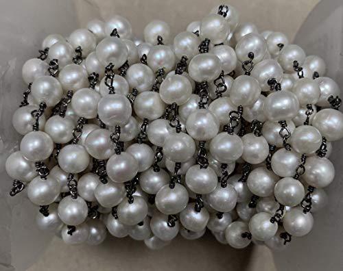 Shree_Narayani Rosario de perlas de agua dulce de 5 pies de cadena Rondelle facetado alambre envuelto negro chapado estilo rosarios cadena de cuentas colgante racimo angoori Strand
