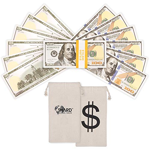 Shard Global Fake 100 Dollar Bills, Realistic Quality Movie Prop Money with Dollar Bag, Double Sided Fake Money Used for Music Videos, Prank Money, Teaching and Parties