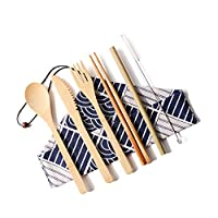 Rad子供 食器セット ポータブルカトラリーセット 6セット 和風収納袋 竹製 箸 スプーン ナイフ ストロー クリーニングブラシ フォーク
