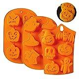 3 piezas 6 cavidades Halloween silicona calabaza fantasma murciélago en forma de fondant molde de pastel de silicona molde de chocolate DIY molde de caramelo bandeja de hielo herramientas para hornea