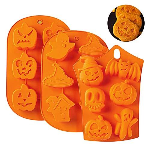 3 piezas 6 cavidades Halloween silicona calabaza fantasma murciélago en forma de fondant molde de pastel de silicona molde...