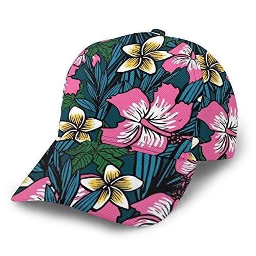 Gorra de béisbol con fondo de flor polinesia, ajustable, clásica, deportiva, casual, para hombre y mujer, estilo Newst