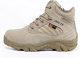 maket QITC Delta Army Boots Male Desert Boots Leather Outdoor Newest Shoes Men Boots Special Forces Tactical Combat Newest Shoes(10,Sand)