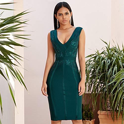 Partykleid Elegante ärmellose Abendgesellschaft smaragdgrünen Spitzenkleid Frauen Sommer Bodycon VerbandPartykleid Nachtclub-Smaragdgrün_XS