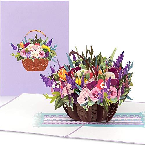"""PaperCrush® Pop-Up Karte Blumen """"Bunter Blumenkorb"""" [NEU!] - 3D Blumenkarte für Freundin oder Mutter (Geburtstagskarte, Runder Geburtstag, Bleib Gesund) - Popup Glückwunschkarte mit Blumenstrauß"""