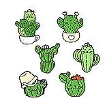 6 Cartoon Cat Face Cactus Brooch Enamel Pins Set Cartoon Plant Pins Backpack Decoration for Women Boys Girls Men Bag Jackets Hats