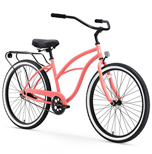 sixthreezero Around The Block Women's Single-Speed Beach Cruiser Bicycle, 26' Wheels, Coral Pink with Black Seat and Grips
