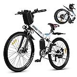 Vivi Bicicletta elettrica da uomo e da donna, 26 pollici, mountain bike, 350 W, 36 V, 10 Ah, batteria al litio e Shimano a 21 marce, colore bianco