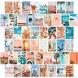 TROOPIC - Collage de 50 Fotos de Posters para Pared Decoración de Habitación Tumblr, Color Melocotón y Azul, 10 x 15 cm, Acabado Mate en papel de 300 gramos. Aesthetic Room Decor. Hecho en España