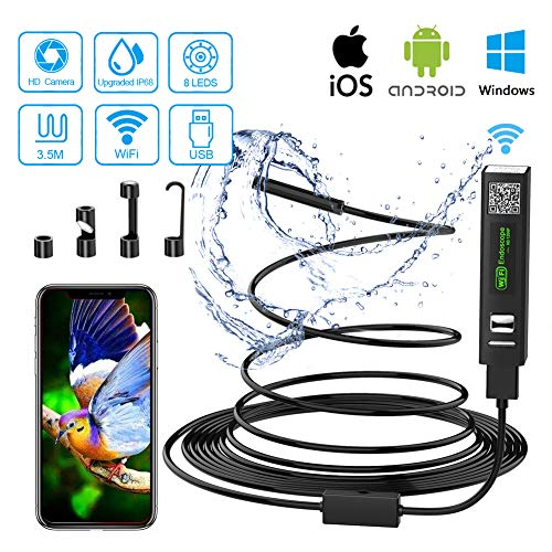Endoscopio WiFi Telecamera Ispezione USB 2.0 Megapixel 1200P HD Boroscopio Snake Camera con 8 luci LED IP68 Impermeabile Semi-Rigido Cavo per Android e iOS, Tablet, Mac, Windows