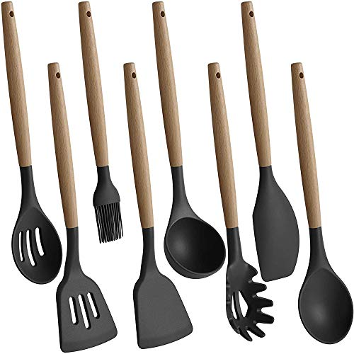 TOPHOME Kitchen Cooking Utensils Set,8pcs Non-Stick Silicone Cooking Kitchen Utensils Spatula Set with Wooden Bamboo Handles Grey Heat Resistant Cookware Utensil Set